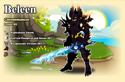Beleen está usando uma espada bem legal na sua char page, a sword
